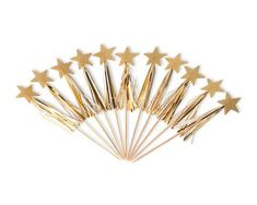 Gold Star Cupcake Toppers