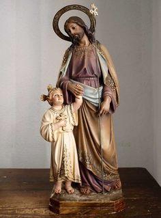 Etsy のSaint Joseph with the Infant Jesus statue José de Nazaret Santos 1940s Spain Religious Art Antique/76(ショップ名:GliciniaANTIQUE)