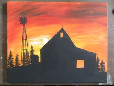 Acrylic painting Sonnenuntergang - Painting crafts Canvases Barn and Windmill Silhouette at Sunset Painting 16 x 20 Acrylic on Stretched Canvas. Sunset Silhouette, Silhouette Painting, Canvas Silhouette, Easy Canvas Art, Painting Canvas, Canvas Ideas, Diy Painting, Sunset Painting Easy, Acrylic Paintings