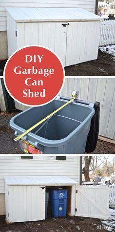 Garbage cans are ugly perched against the side of your home, so why not build your own shed to conceal them and still provide easy access? With basic woodworking you can build a custom garbage shed to hide trash cans perfectly. This is a free-standing shed that fits 3 trashcans; there are 3 lids & 2 doors with an open back. http://www.ehow.com/how_5059928_make-outdoor-garbage-can-shed.html?utm_source=pinterest.com&utm_medium=referral&utm_content=freestyle&utm_campaign=fanpage…