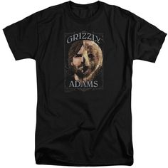 Grizzly Adams/Half Bear Short Sleeve Adult T-Shirt Tall in - Mens
