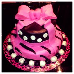 Tween birthday cake with marshmellow fondant.