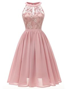 Women Sleeveless Gown Dress Lace Chiffon Cut Out Back A-Line Evening Party Formal Dress Lace Dresses Ladies Vestidos Pink XL Tulle Prom Dress, Ball Gown Dresses, Prom Party Dresses, Homecoming Dresses, Dress Up, Bridesmaid Dresses, Swing Dress, Dress Lace, Chiffon Dresses