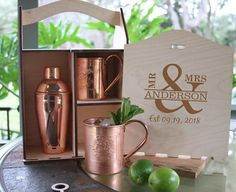 Personalized Moscow Mule mugs and Shaker BoxEngraved Moscow