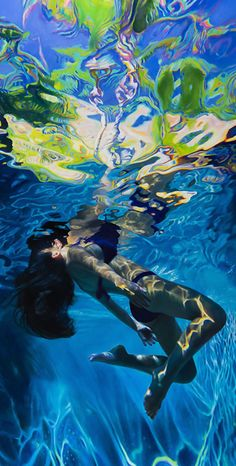 "Purple Green Dream"" - Matt Story, oil on panel {figurative realism art female swimming pool refraction highlights swimsuit woman cropped painting} mattstory.com"