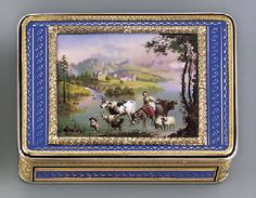 A SWISS ENAMEL AND GOLD SNUFF-BOX GENEVA, CIRCA 1815/1820,