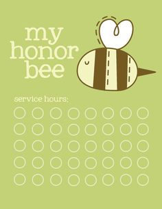 my little honor bee tracking cards.
