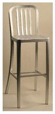 Brushed Aluminum Bar Stool w Rail Back & Mold - contemporary - Bar Stools And Counter Stools - ivgStores
