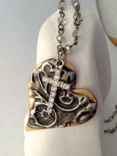 Hot Stamped, Mixed Metal Heart Necklace, Swarovski Crystals, Crystal Rosary Chain, Handmade.