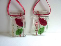 Red and Green Fused Glass Christmas Bulb Ornament by bprdesigns, $6.00