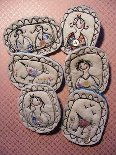 textile brooches by hens teeth, via Flickr