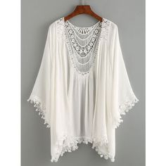 Lace Trimmed Crochet Insert Kimono - White (430 UYU) ❤ liked on Polyvore featuring kimono, tops, cardigans, white, white kimono, lace trim robe, kimono robe, white robe and white kimono robe