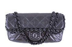 Chanel Dark Silver Chain Me Around 2.55 Medium Classic Flap Bag