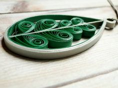 Quilled Green and Gray Paper Pendant Necklace