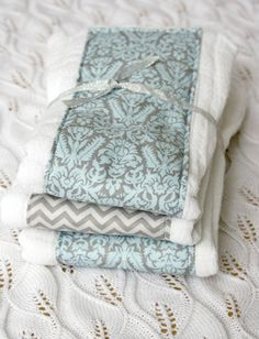 Cloth Diaper Burp Cloths Set of 3 Blue and Grey by mypoplin, $14.00