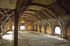 stripped out ballroom on the top floor of the Divine Lorraine in Philadelphia