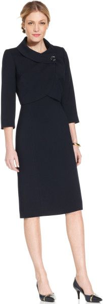 Tahari Portrait Collar Dress Suit - Lyst