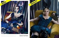 Madonna, before and after Photoshop for Louis Vuitton #bodyimage #selfesteem #perfect #imperfect don-t-compare-yourself-to-celebrities personal-development #bags #fashion