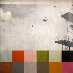 "Jane Hambleton, color dive, 2012, Graphite, acrylic and oil on paper, 50"" x 50"""