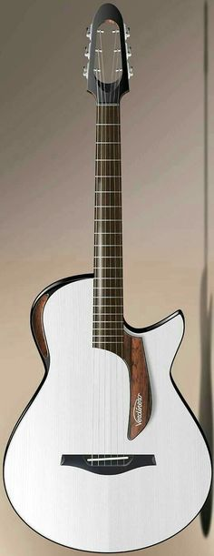 All white-body guitar