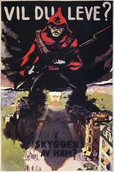 Anti-Communist propaganda is more awesome than any horror movie poster Do you want to live in the shadow of him?, A Norwegian anti-communist poster Ww2 Propaganda Posters, Communist Propaganda, Retro Poster, Vintage Posters, Vintage Ads, Horror Movie Posters, Horror Movies, Cool Posters, Tumblr