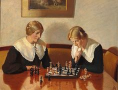 ANCHER Michael Peter – Helga Ancher and Engel Saxild playing chess in the home of the Ancher family on Markvej in Skagen. Jig Saw, Lund, Most Popular Artists, Childhood Games, Impressionist Artists, Classic Paintings, Painting People, Ludwig, Art Themes