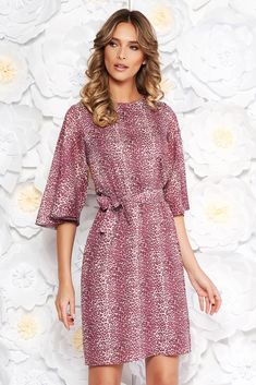 StarShinerS purple daily voile fabric dress with inside lining flared accessorized with tied waistband, accessorized with tied waistband, inside lining, floral prints, long sleeves, voile fabric