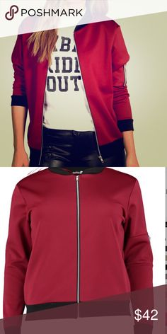 """Wine bomber jacket You Need This NWT Just in. Wine bomber jacket. So beautiful. The color in the picture doesn't do this justice. Plus size 18, UK sz 22. More coming soon. Bust 48"""", waist 41"""". Jackets & Coats"""