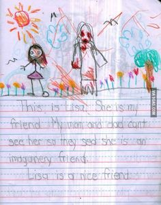 This Little Girls Disturbing Drawings of Her Imaginary Friend Will Creep You Out Friends The Last One, Friends Mom, Scary Stories, Ghost Stories, Scary Kid Drawings, Pictures To Draw, Best Funny Pictures, Drawing For Kids, Art For Kids