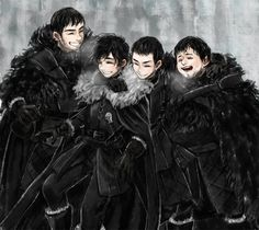 Grenn, Jon Snow, Pip, Samwell Tarly - Sworn Brothers by ~tyusiu on deviantART #got #agot #asoiaf