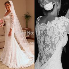 Cheap gown dresses for sale, Buy Quality gowns with long sleeves directly from China dress song Suppliers:  Welcome to our Loving-V dress shop  Gorgeous Beaded Mermaid Wedding Dresses 2016 vestido de noiva sereia Sheer Back and
