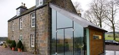 An exhilarating glass, oak and zinc extension at prospect house in Cluny Estate, Sauchen, Aberdeenshire, Scotland by JAMstudio Residential Architecture, Architecture Design, Orangerie Extension, Cottage Extension, Prospect House, Glass Extension, House Extensions, Glass House, Exterior Design