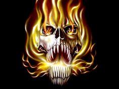 scary skulls images | ... etc hand and ink true fire skull illustration skulls wallpapers