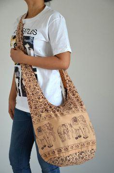 Vanilla Cotton Bag Handbags Elephant Bag Hippie Hobo by kultida