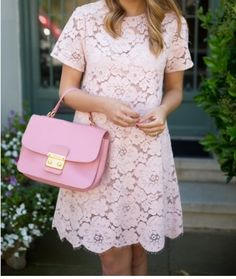 Gal meets glam - Pale pink lace dress with pink bag - Dresses for Work