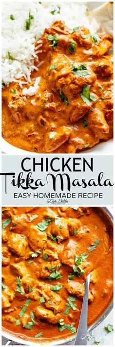 Chicken Tikka Masala is creamy and easy to make right at home in one pan with simple ingredients!Full of incredible flavours, it rivals any Indian restaurant! Aromatic golden chicken pieces in an incredible creamy curry sauce, this Chicken Tikka Masala re Indian Food Recipes, Asian Recipes, Healthy Recipes, Healthy Food, Easy Indian Chicken Recipes, Rice Recipes, Ham Recipes, Broccoli Recipes, Comida India