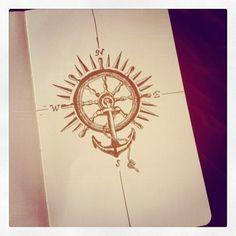 Tattoo Compass Rose Anchor Ship Wheel Ideas For 2019 Up Tattoos, Trendy Tattoos, Unique Tattoos, Sleeve Tattoos, Tatoos, Anchor Compass Tattoo, Anchor Tattoos, Nautical Tattoos, Geometric Compass