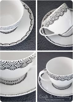 DIY - Hand painted Cup & Saucer using a porcelain pen via Craft & Creativity