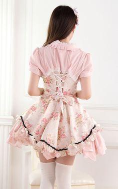 Sweet Lace Noble Ladies Pink Rose Print Sweet Lolita Dress JSK
