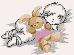 Baby with bunny toy free embroidery design. Machine embroidery design. www.embroideres.com