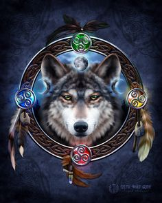 The Celtic Wolf Guide - Pagan Wiccan Print - Brigid Ashwood Anime Wolf, Wolf Dreamcatcher, Native American Wolf, Wolf Artwork, Wolf Painting, Wolf Spirit Animal, Art Calendar, Celtic Calendar, Wolf Wallpaper