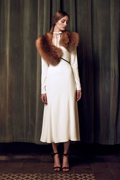 19-katie-ermilio-fall-2016-ready-to-wear- the fur is faux, the dress is perfect