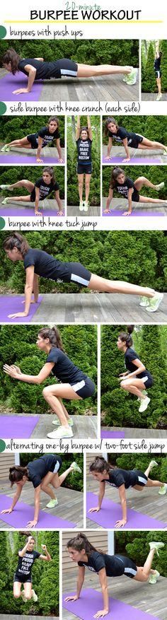 20-Minute Burpee Workout http://pumpsandiron.com/2013/06/10/20-minute-burpee-workout/