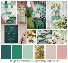 Emerald, Jade and Blush Indian Wedding Color Inspiration