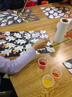"Changing Leaves"" create own leaf template, then traced their leaf (over and over), next background with a black crayon, last paint w/ watercolor paint. Source: The Colorful Art Palette"