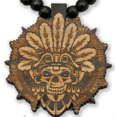 Wood Pendant Aztec Skull & Beaded Necklace by City Locs raza Mexican tattoo NEW