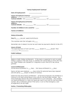 The extraordinary Nanny Contract Template – Nanny Agreement Template Nanny Agencies, Nanny Services, Babysitting Jobs, Babysitting Activities, Nanny Binder, Part Time Nanny, Nanny Contract, Nanny Care, Live In Nanny