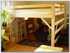 Plans of Woodworking Diy Projects - DIY Loft Bed Plans Free Bunk Beds With Stairs, Cool Bunk Beds, Kids Bunk Beds, Lofted Beds, Loft Bed With Curtains, Low Loft Beds For Kids, Bed Stairs, Bedroom Curtains, Small Rooms