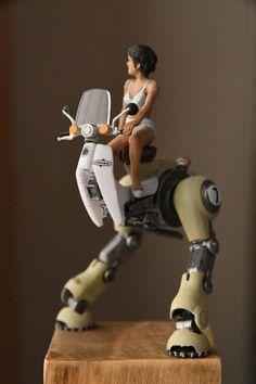 Toy Art, Dirigible Steampunk, Character Concept, Character Art, Honda Cub, Arte Robot, Sci Fi Models, Arte Cyberpunk, Robot Concept Art