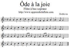 ôde à la joie à la flûte à bec, fa majeus